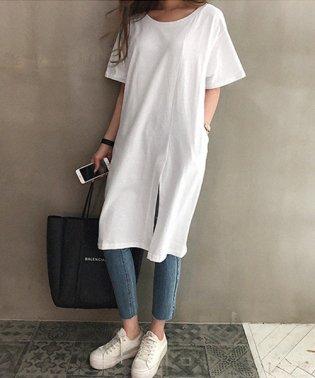 NANING9(ナンニング)変形スリットロングTシャツ-