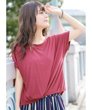 陽射しに負けない、UVシリーズ。フロントタック ドルマン カットソー/UV UVカット tシャツ Tシャツ 日焼け防止レディーストップス 半袖