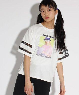 転写袖すけライン Tシャツ