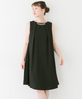 【ROSSO】ビジュー付タックフレアードレス