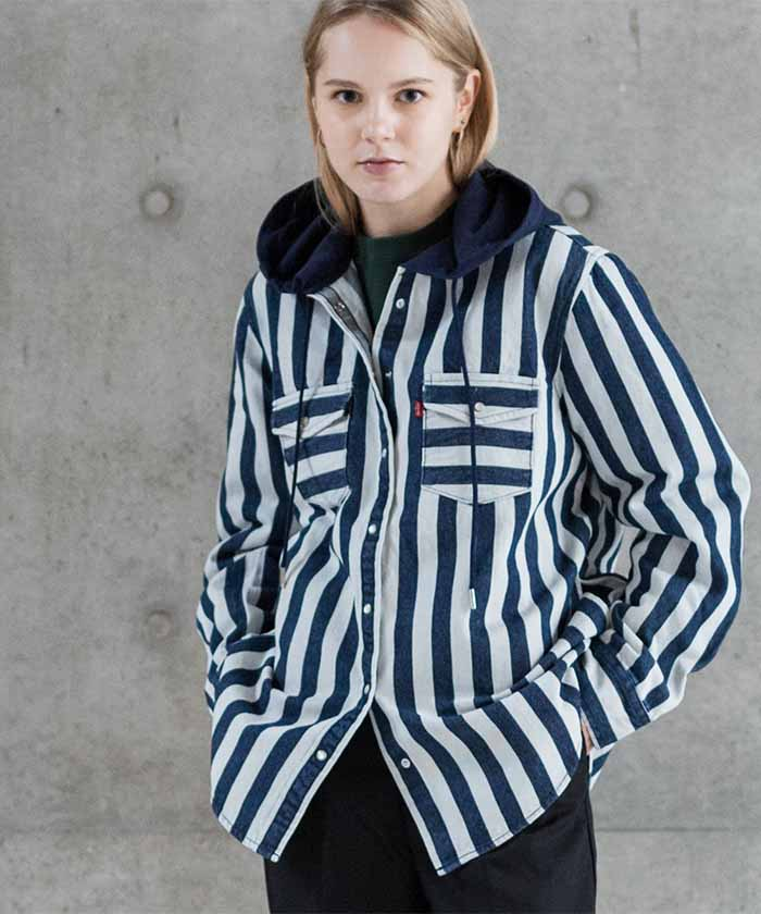 HOODED WOVEN SHIRT NAVY AND WHITE BOLD