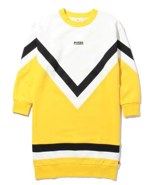 LOGO SWEATSHIRT DRESS WHITE W/MUSTARD Y