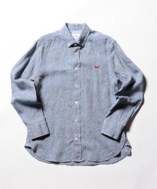 【新色追加】クジラ刺繍リネンボタンダウンシャツ