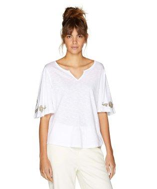 フレア袖刺繍五分袖Tシャツ・カットソー