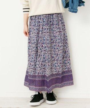 エアリーコットンエスニックフラワー柄スカート