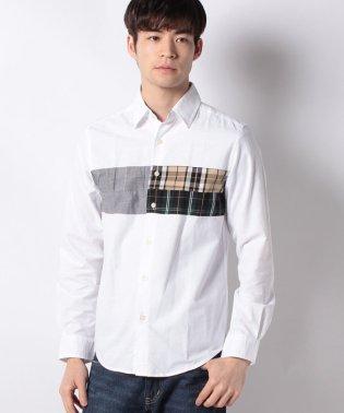オックス パネル切替 長袖シャツ