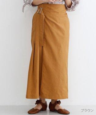 リネン混サイドベルトラップスカート