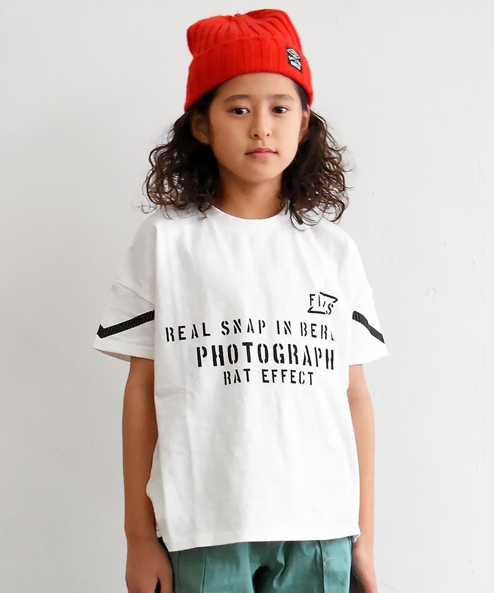 袖VプリントビッグTシャツ