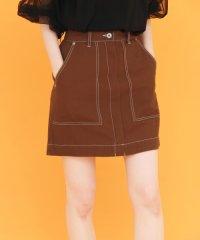 【KBF】配色ステッチミニスカート