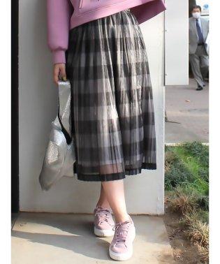 シアーチェック柄プリーツスカート