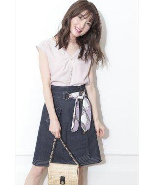 【美人百花5月号掲載】スカーフ付配色ステッチスカート