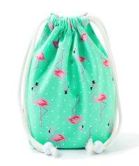 巾着 小 コップ袋 (総柄タイプ) ピンクフラミンゴ