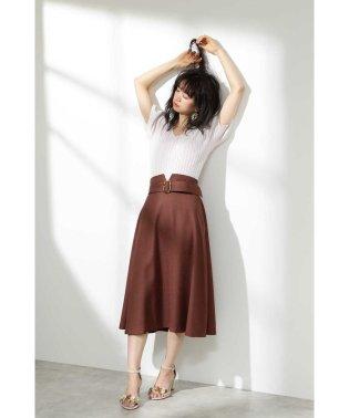 ◆ベルト付きツイルフレアースカート