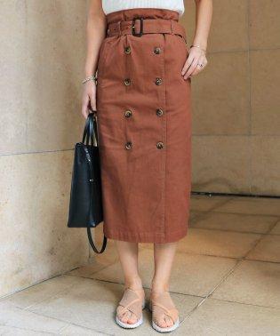 【H-9】ツイル タイトスカート 前ボタン ロングスカート