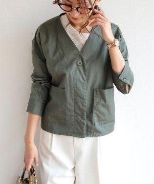 【W-5】綿ツイル ノーカラー シャツ ジャケット
