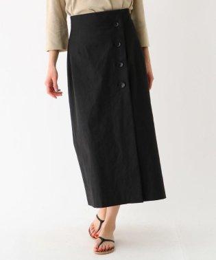 リネン混ロングタイトラップ調スカート