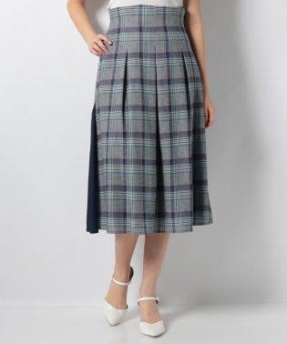 グレンチェックサイド配色スカート