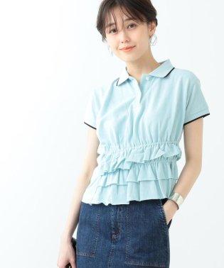 Ray BEAMS / カノコ アシメ ギャザー ポロシャツ