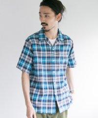 【UR】綿麻マドラスチェックオープンカラーシャツ