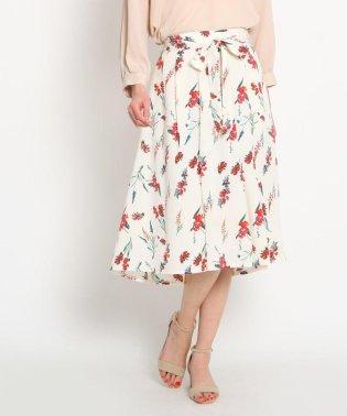 【洗える】リボンベルト付き花柄スカート