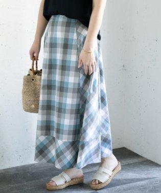 カラーブロックマキシスカート