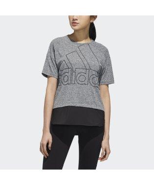 アディダス/レディス/W ID 半袖ファブリックMIX オーバーサイズビッグロゴ Tシャツ