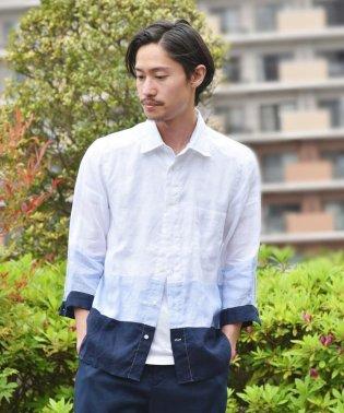 SHIPS JET BLUE: L.B.N.リネン ブロッキング7分袖シャツ