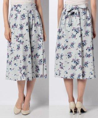 【セットアップ対応商品】花柄共リボン付フレアスカート