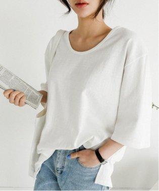 NANING9(ナンニング)UネックメンズライクTシャツ