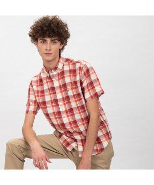 リネンチェックボタンダウンシャツ