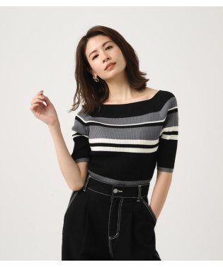 HALF SLEEVE BORDER KNIT TOPS