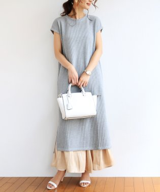 【T-2】ワッフル 半袖 Tシャツワンピース