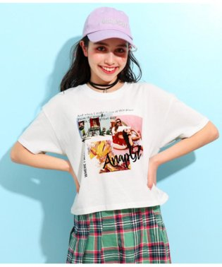 キュートカラーフォトクロップドTシャツ