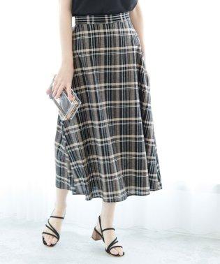 【WEB限定】綿麻チェックロングスカート