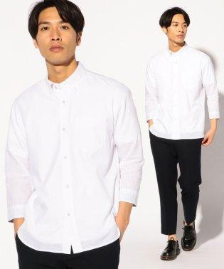 7分袖フレンチリネンボタンダウンシャツ
