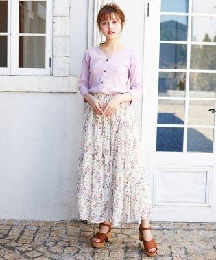 花柄シフォンティアード/スカート