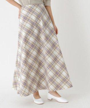 【洗える】オーガニックコットン チェックフレアスカート