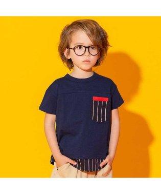 ネット限定 ストライプ切替Tシャツ