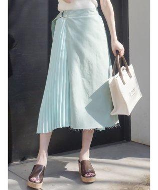 サイドプリーツイレヘムラップ風スカート