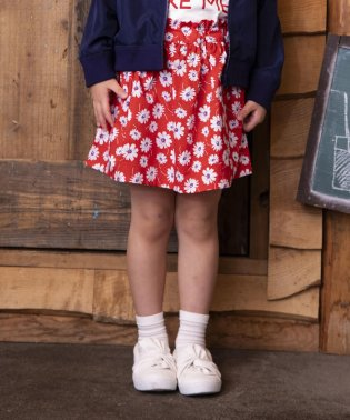 ブロード花柄スカートパンツ