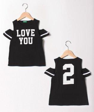 オープンショルダープリント半袖Tシャツ