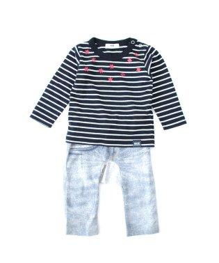 BABYボーダーTシャツ&デニム風パンツセット