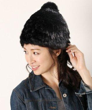 ラビットファー 編み込み ポンポン付き ふわふわ ニット帽