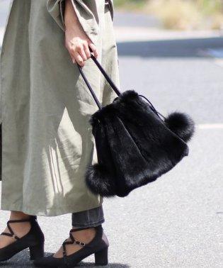 ふわふわ レッキスファー 巾着バッグ レディース ハンドバッグ