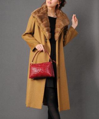 内モンゴル産 カシミヤ 100% ロング コート ミンク 襟 着丈110cm