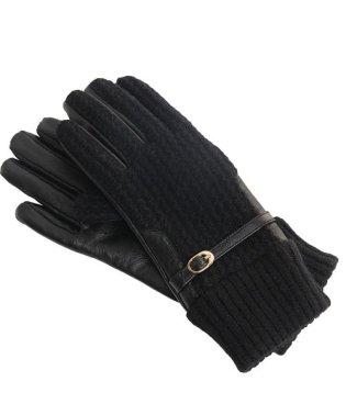 ラムレザー& ウール ニット 手袋 レディース スマホ対応