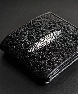 折り財布 二つ折り エイ革 本革 スティングレイ レザー 折財布