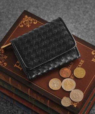 [doob London] 本革ゴートレザー イントレチャート 三つ折り メッシュ ミニ財布