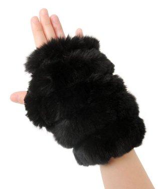 手袋 指なし ミトン ハンドウォーマー ファー 毛皮 レッキス ニット
