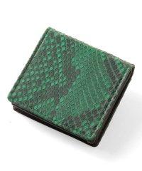 パイソン レザー ボックス型 小銭入れ メンズ 財布 ヘビ革 本革